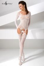Combinaison BS055 - Blanc - Combinaison sexy à manches longues, fourreau blanc de résille décorée d'un motif floral.