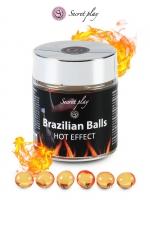 6 Brazilian Balls - effet chaleur - La chaleur du corps transforme la brazilian ball en liquide glissant à effet chaud, votre imagination s'en trouve exacerbée.