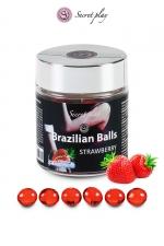 6 Brazilian Balls - fraise - La chaleur du corps transforme la brazilian ball en liquide glissant au parfum fraise, votre imagination s'en trouve exacerbée.