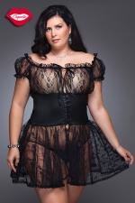 Nuisette Fancy - grande taille - Nuisette romantique en dentelle avec une large ceinture corset Queen size, elle sublime la sensualité des rondes.